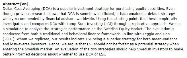 دانلود پایان نامه : مطالعه تطبیقی استراتژی میانگین هزینه دلار DCA با سرمایه گذاری LSI