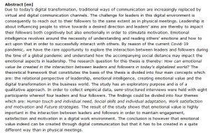 دانلود پایان نامه : مطالعه کیفی تأثیر تحولات تجارت دیجیتالی بر جنبه های احساسی رهبری سازمان