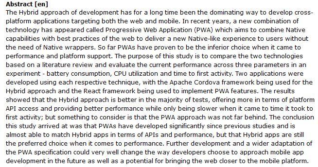 دانلود پایان نامه مقایسه برنامه نویسی Hybrid و PWA در سیستم عامل Android