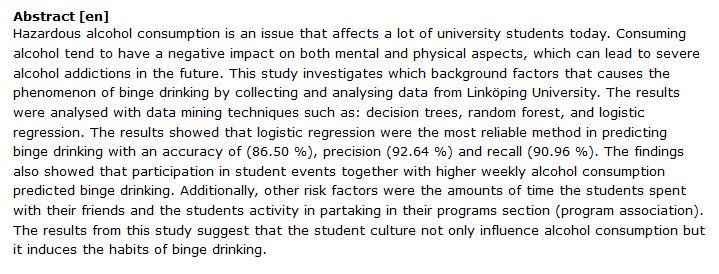 دانلود پایان نامه : مقایسه روش های داده کاوی عوامل خطرساز مصرف الکل در دانشجویان