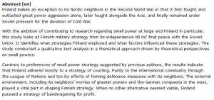 دانلود پایان نامه : بررسی استراتژی نظامی فنلاند از استقلال تا صلح نهایی با اتحاد جماهیر شوروی
